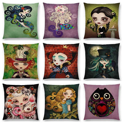 Angel Lady Hatter Ravens Girl Pierrette Countess Owl Cushion Cover Pillow Case