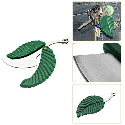 Leaf Pocket Folding Knife Key Chain Outdoor Portable Survival Tool Camping Green