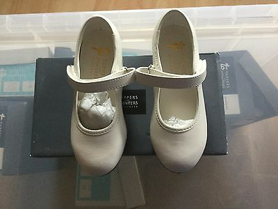 Tap Dancing Shoes For Girls White Basic Toe Tap Velcro Size 5 Small BNIB