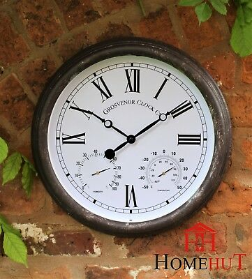 Outdoor Garden Wall Clock Thermometer Humidity Meter 38cm rust colour Roman