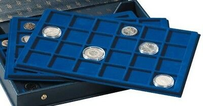 coin trays for 12 coins up to  50 mm Ø, blue, for small coin cases