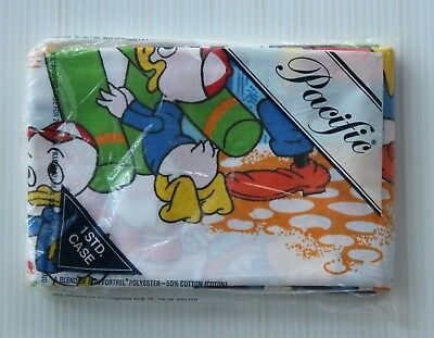 NIP Vtg DISNEY Standard PILLOWCASE Pacific MICKEY Minnie GOOFY  Huey Dewey Louie