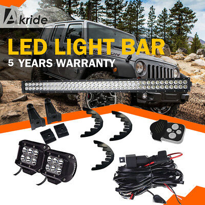 42IN 240W LED Work Light Bar Spot Flood Combo Beam Fog OffRoad JEEP 4WD SUV BOAT
