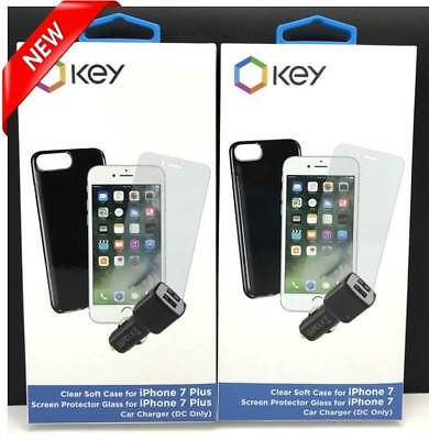 NEW Key Case, Screen Protector & Car Charger for iPhone 7/8 & 7Plus/8Plus Bundle