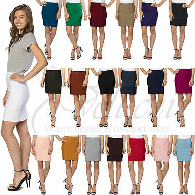 """Womens Stretchable Mini Pencil Skirt - Above The Knee 19"""" Length Classic Skirt"""
