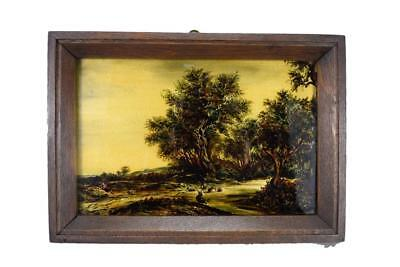 French Antique 19th Reverse Painting on Glass Framed Signed N Schneider