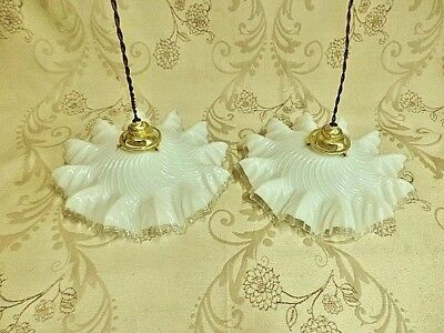 PAIR OF VINTAGE FRENCH CEILING PENDANT LIGHTS WITH GLASS SHADE  (ref EF )
