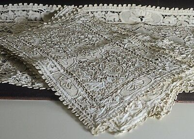 Heavy Cutwork & Embroidered Vintage Linen Table Service For 8 Tt813