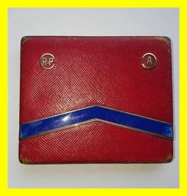 Austrian C.1925 935 Silver & Gold Enamel Leather Covered Card Case.