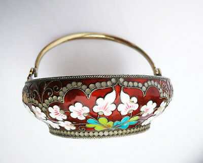 Russian Original Vintage Soviet Silver 916 Cloisonne Enamel Sugar Bowl And Spoon