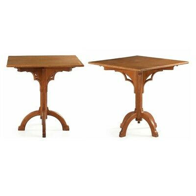 Pair of Arts & Crafts Mission Craftsman Oak Antique Side Tables Consoles Stands