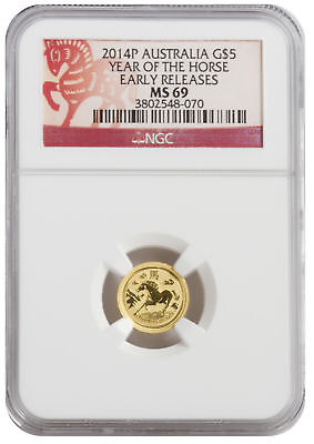 2014 1/20oz Gold Australian Lunar Horse Early Release MS69 NGC Red Label