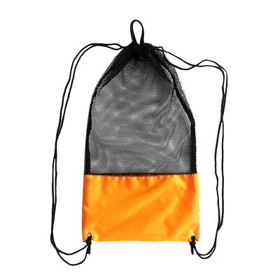 Mesh Drawstring Bag for Snorkeling Scuba Diving Fins Goggles Mask Orange