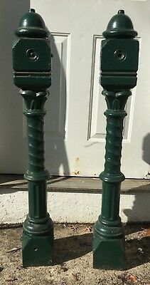 Antique Victorian Cast Iron Matching Set of Stair Newel Poles 1850 Architectural