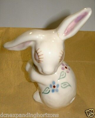 Vintage Ivory-color Porcelain Rabbit w/ Flower Design & Hole for Cottonball Tail