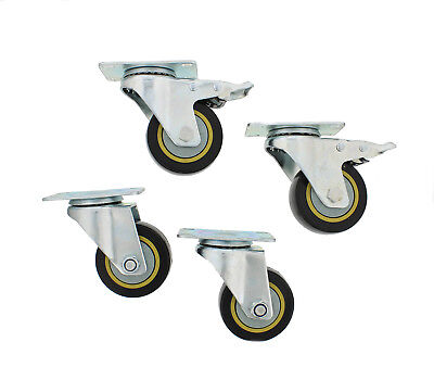 """ABN® Swivel Plate Caster Wheels 3"""" Inches Set of 4 Locking Casters for Furniture"""