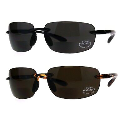 Mens Rimless Warp Sport Sunglasses With Bifocal Reading Lenses