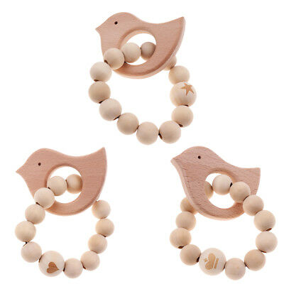 Natural Round Wood Teething Bracelet Baby Newborn Kids Wooden Teether Toy