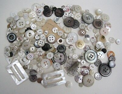 Mixed Lot Antique & Vintage Mother of Pearl Buttons & Buckles 130g