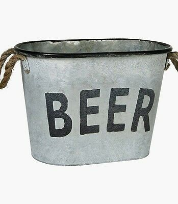 Large Metal Beer Oval Bucket With Handles Ice Bucket Party Bbq Pub New