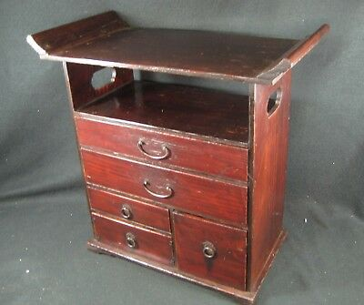 Japanese Antique 110 Year Old 5 Drawer Kijiro Lacquer Buddhist Altar Tansu