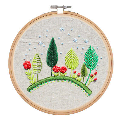 15cm Hand Embroidery Cross Stitch Sewing Kit with Bamboo Frame Hoop Decor