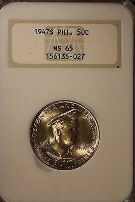1947 S Philippines 50 Centavos NGC MS 65 Silver     ** FREE U.S. SHIPPING **