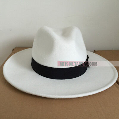 45c7d2a87a848 MJ Michael Jackson Smooth Criminal White Men s Wool Fedora Hat Cap Without  Name