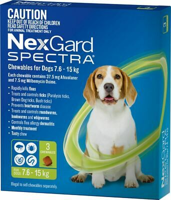 NexGard Spectra Chewables For Dogs Medium Dogs 7.6-15kg - Green 3 Pack