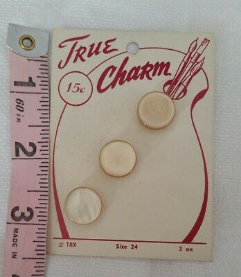 Vintage Buttons On A Card True Charm  Collection Of 3 Matching Tan Off White #3