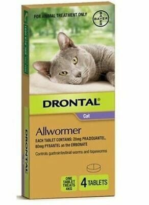 Drontal Allwormer Tablets for Cats up to 4 kg - 4 Pack