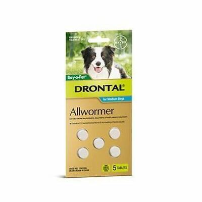 Drontal Allwormer Tablets for Medium Dogs up to 10 kg - 5 Pack