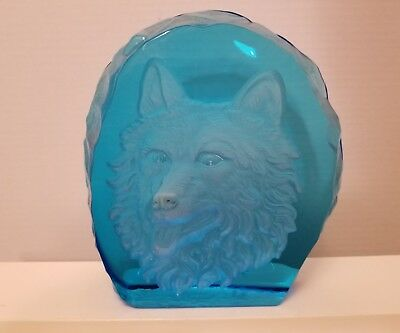 Vintage Frosted WOLF face.. BLUE.. Glass Iceberg Sculpture ETCHED HAWAII