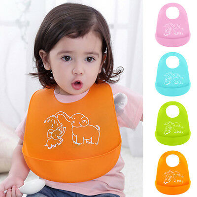Soft Comfortable Baby's Bib Easily Wipes Clean Silicone Feeding Bibs Waterproof