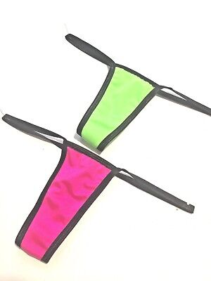 New Stripper Exotic Dancer Lot Of 2  Glow Neon Pink/green Y-Back Thong Med/lrg