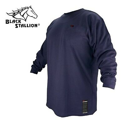 Revco FTL6-NVY Navy Blue Flame Resistant Cotton Long-sleeve T-Shirt, Medi... New
