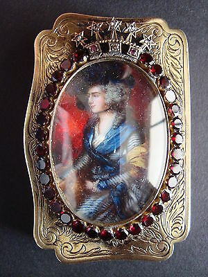 Jeweled .800 Silver Pill Box C. Vieweg Miniature Painting After T. Gainsborough