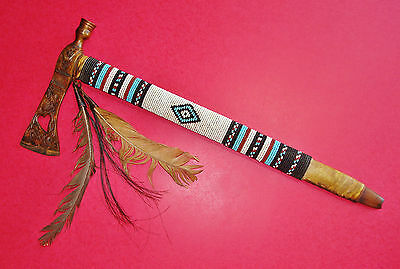 Contemporary Tomahawk Pipe Raw Hide & Beaded Haft Engraved Brass Head Iron Inset