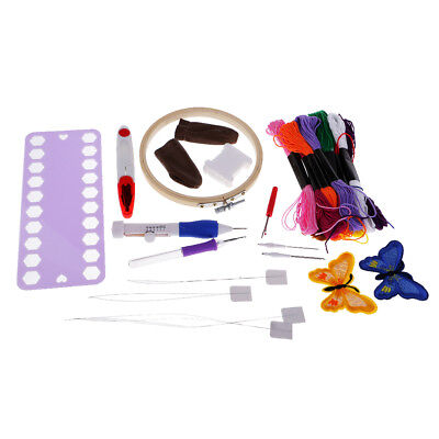Embroidery Starter Kit Cross Stitching Sewing Kit 12 Color Threads Threaders