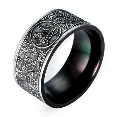 Vintage Men's Silver Black Four Holy Beasts Animal Stainless Steel Finger Ring