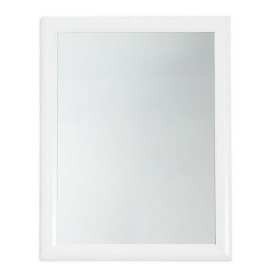 White Plastic Framed Mirror Small 30x40cm Hanging Wall Home Decor Classic Art