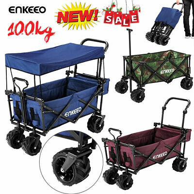 Collapsible Utility Wagon Foldable Shopping Trolley Sports Outdoor Cart Beach AU