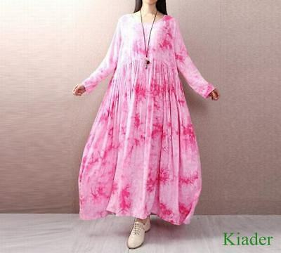 Womens Chinese Style Full Length Long Sleeves Dress Floral Printed Loose Fit