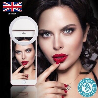 WHITE Selfie Ring Light LED - Camera Fill Flash Clip For Phone | iPhone Samsung.