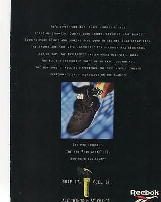 Reebok Shaq Attaq Iii Now With Instapump Print Ad Shaquille O'neal-Planet Reebok