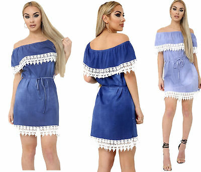 Womens Italian Denim Off Shoulder Crochet Lace Frill Printed Bardot Dress 08-14