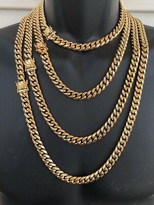 """HARLEMBLING 10mm Mens Miami Cuban Link Chain 14k Gold Plated HEAVY 18""""-30"""""""