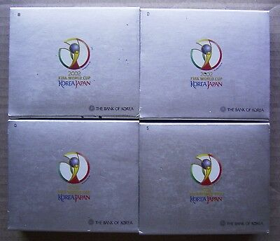 KOREA - 4 x 10,000 WON - 2002 FIFA WORLD CUP - LOT OF FOUR SILVER PROOF COINS
