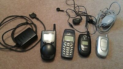 Set Of 4 Old Cell Phones + Some Cords