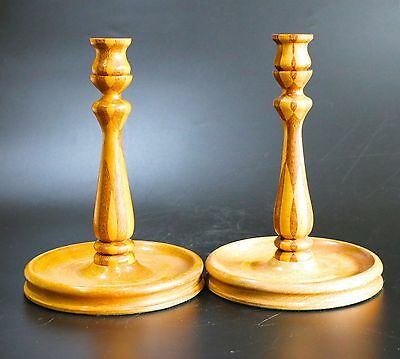 Vintage Wooden Treen Footed Candlesticks Inlaid Marquetry Two Tone Motif- Pair